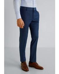 Мужские темно-синие классические брюки в клетку от Mango Man