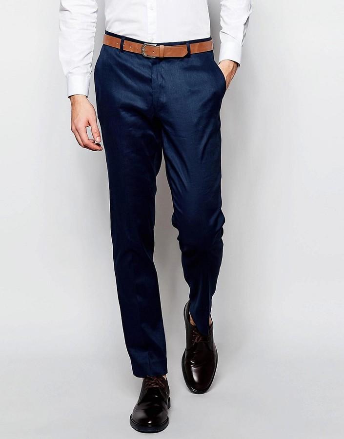 ... Мужские темно-синие классические брюки от Asos ... dc7e9b467a4f2
