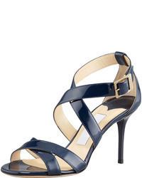 Темно-синие кожаные босоножки на каблуке