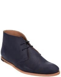 Темно-синие кожаные ботинки дезерты
