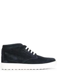 Темно-синие кожаные ботинки дезерты от Salvatore Ferragamo