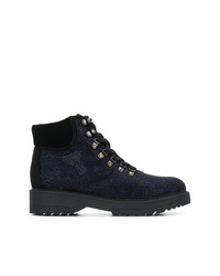 Женские темно-синие кожаные ботинки на шнуровке с украшением от Tosca Blu
