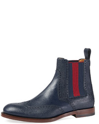 Темно-синие кожаные ботинки челси