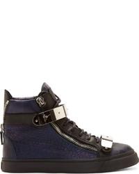 Темно-синие кожаные высокие кеды