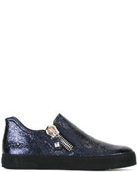 Женские темно-синие кожаные кеды от Stuart Weitzman