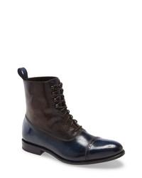 Темно-синие кожаные классические ботинки