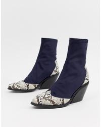 Женские темно-синие кожаные ковбойские сапоги от ASOS DESIGN