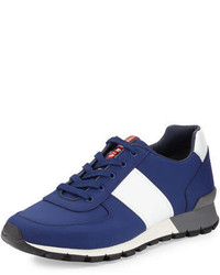 Темно-синие кожаные кроссовки