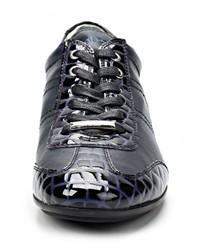 Мужские темно-синие кожаные кроссовки от BambooA