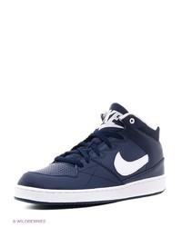 Мужские темно-синие кожаные низкие кеды от Nike