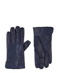 Темно-синие кожаные перчатки