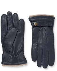 Мужские темно-синие кожаные перчатки от Dents