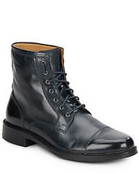 Темно-синие кожаные повседневные ботинки