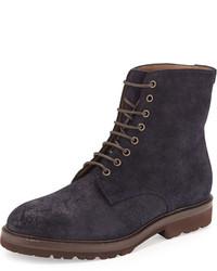 Темно-синие кожаные рабочие ботинки