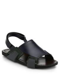 Темно-синие кожаные сандалии