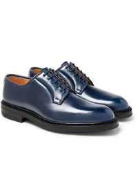Темно-синие кожаные туфли дерби