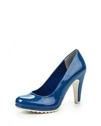 Темно-синие кожаные туфли от Marco Tozzi
