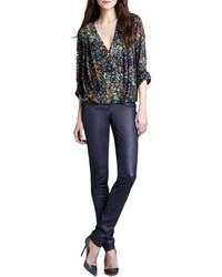 Темно-синие кожаные узкие брюки