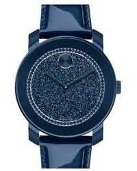 Темно-синие кожаные часы
