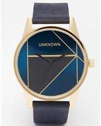 Мужские темно-синие кожаные часы