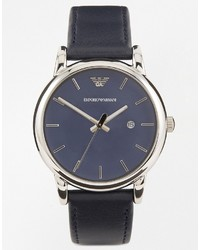 Мужские темно-синие кожаные часы от Emporio Armani