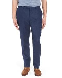 Темно-синие льняные брюки чинос