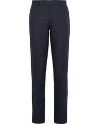 Темно-синие льняные классические брюки