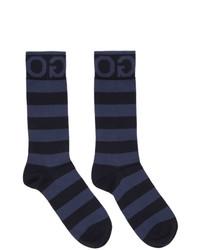 Мужские темно-синие носки в горизонтальную полоску от Hugo
