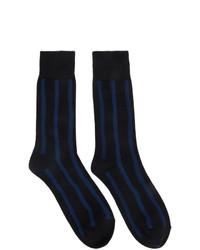 Мужские темно-синие носки в горизонтальную полоску от Issey Miyake Men