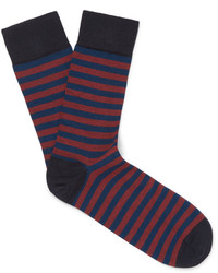 Мужские темно-синие носки в горизонтальную полоску от John Smedley