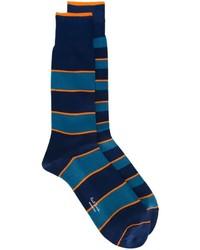Мужские темно-синие носки в горизонтальную полоску от Paul Smith