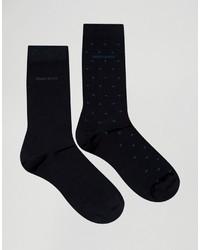 Мужские темно-синие носки в горошек от Hugo Boss
