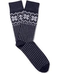 Темно-синие носки с жаккардовым узором