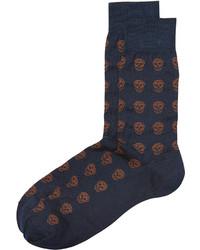 Темно-синие носки с принтом