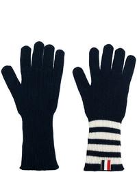 Мужские темно-синие перчатки в горизонтальную полоску от Thom Browne