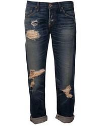 Темно-синие рваные джинсы-бойфренды