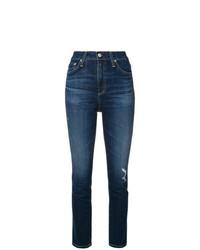 Темно-синие рваные джинсы скинни от AG Jeans