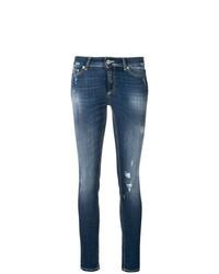 Темно-синие рваные джинсы скинни от Dondup