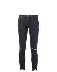 Темно-синие рваные джинсы скинни от J Brand