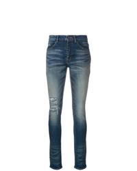 Темно-синие рваные джинсы скинни от Saint Laurent