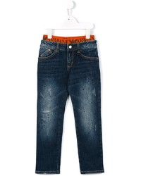 Детские темно-синие рваные джинсы для мальчиков от Armani Junior