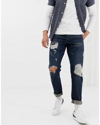 Мужские темно-синие рваные джинсы от ASOS DESIGN