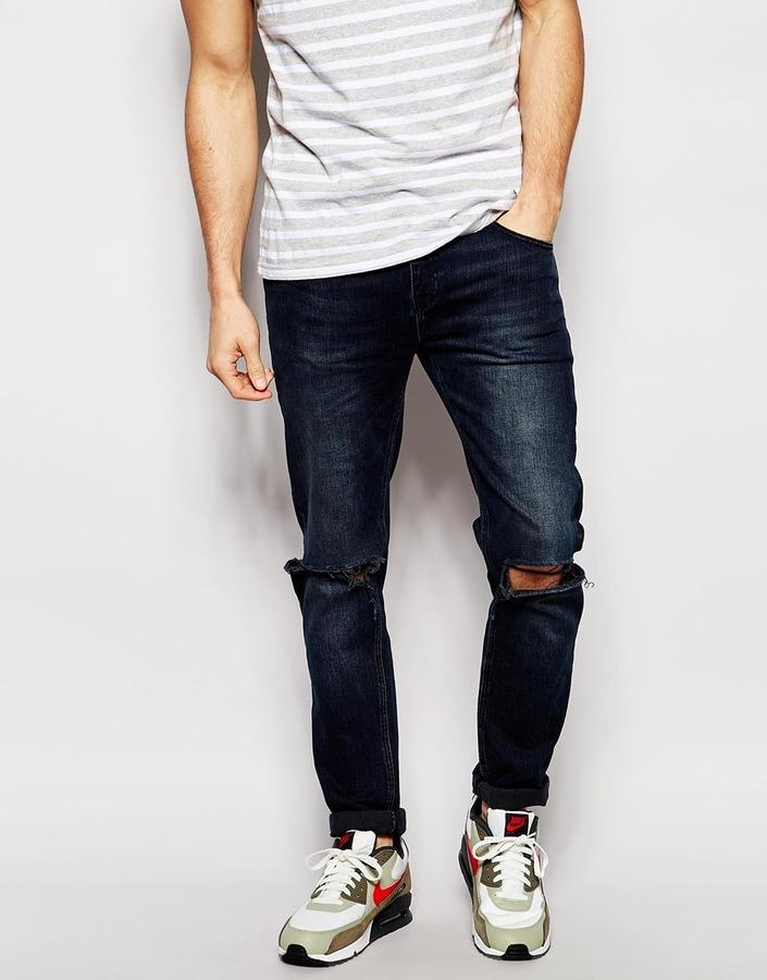 246df2be261 ... Мужские темно-синие рваные джинсы от Asos ...