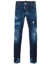 Мужские темно-синие рваные джинсы от DSQUARED2