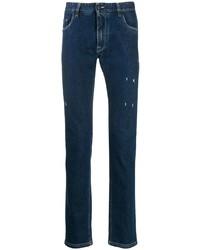 Мужские темно-синие рваные джинсы от Fendi