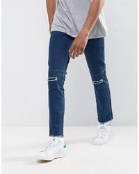 Мужские темно-синие рваные джинсы от Hoxton Denim