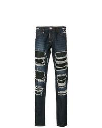Мужские темно-синие рваные джинсы от Philipp Plein
