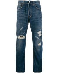 Мужские темно-синие рваные джинсы от PRPS