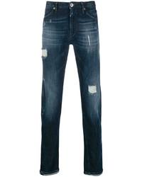 Мужские темно-синие рваные джинсы от Pt05