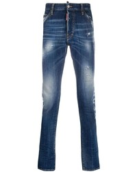 Мужские темно-синие рваные зауженные джинсы от DSQUARED2